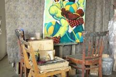 Последняя живописная картина художника А.Д. Тихомирова Клоун. 1994. Мастерская на Балтийской улице, Москва. 2006